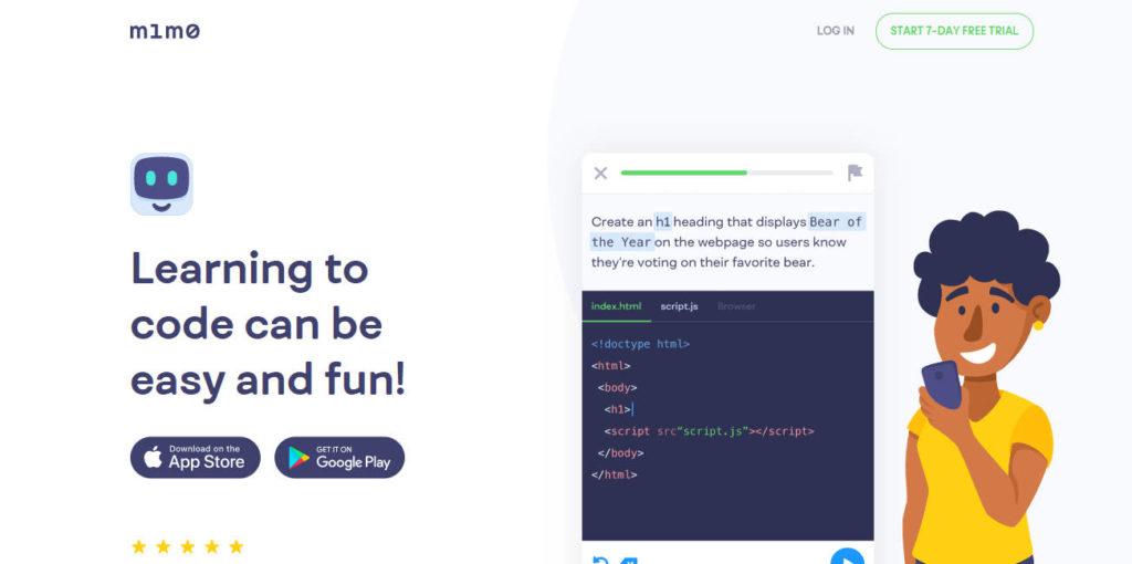 Screenshot of Mimo Website