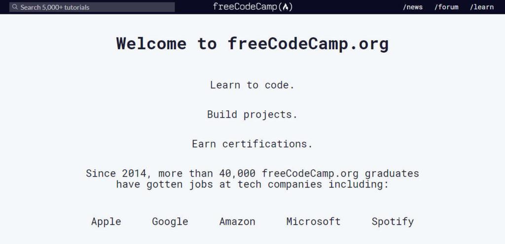 Screenshot of freeCodeCamp Website