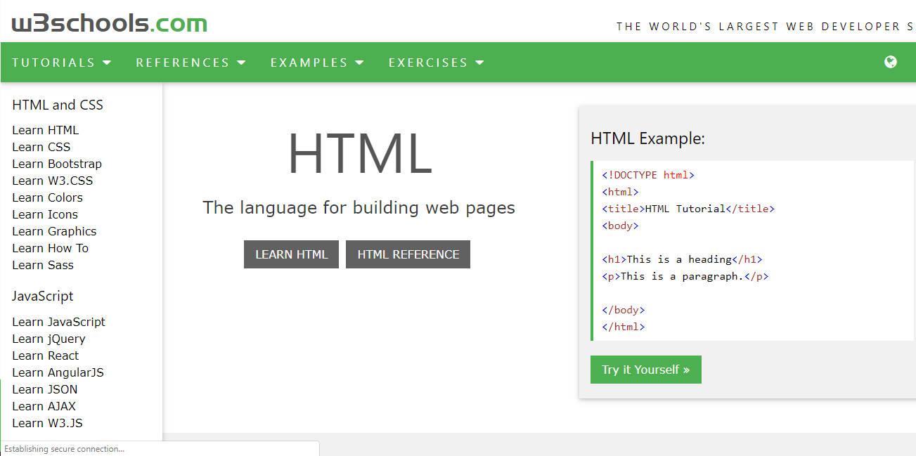 Screenshot of w3Schools Website